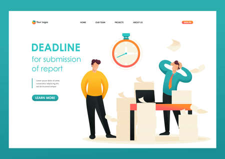 Stressful situation, Deadline for submission of report, company's employees in shock. Flat 2D character. Landing page concepts and web design.