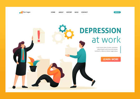 Stressful situation at work, deadline for reporting in accounting. Flat 2D character. Landing page concepts and web design. Banque d'images - 150511817
