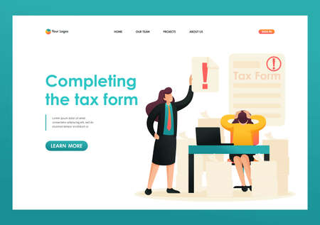 Stressful situation, Completing the tax form, deadline for filing tax returns. Flat 2D character. Landing page concepts and web design. Illusztráció