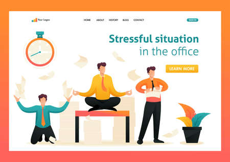 Employees in a panic, stress at work, solve problems, meditate. Flat 2D character. Landing page concepts and web design.