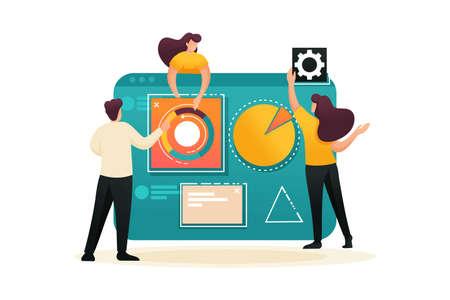 Teamwork, business analysis on a large tablet. Flat 2D character. Concept for web design. Illusztráció