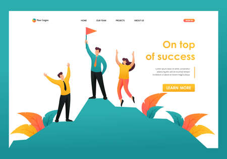 Team entrepreneurs celebrates victory on top of success. Flat 2D character. Landing page concepts and web design.