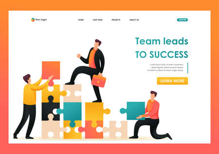 Team entrepreneurs leads to success, helping to build a ladder up. Flat 2D character. Landing page concepts and web design.