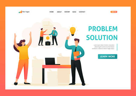 Stressful situation, solution of the problem by employees of the company. Flat 2D character. Landing page concepts and web design.