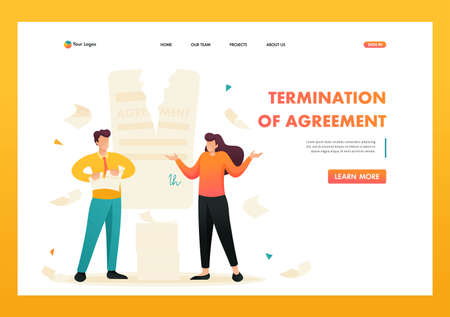 Contract break, the agreement between the companies. Flat 2D character. Landing page concepts and web design. Illusztráció
