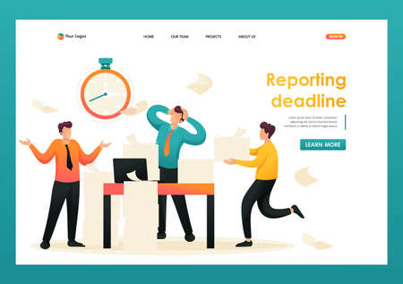 Stressful situation at work, employees in panic. Flat 2D character. Landing page concepts and web design.