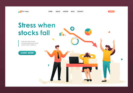 Stressful situation of falling stock prices, the company's employees in a panic. Flat 2D character. Landing page concepts and web design. Illusztráció