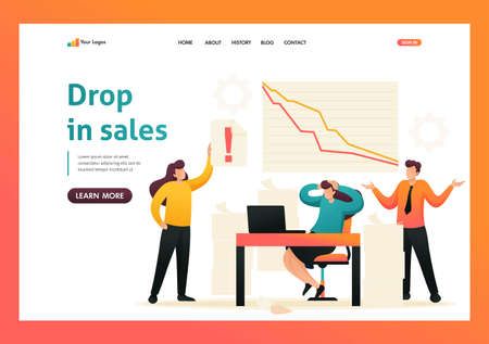 Fall in sales, the team of specialists in a panic. Flat 2D character. Landing page concepts and web design. 스톡 콘텐츠 - 150662152
