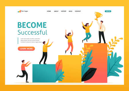 Young businessman has achieved success, ladder of success, Leadership. Flat 2D character. Landing page concepts and web design.
