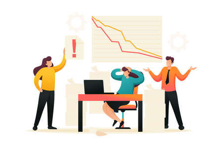 Fall in sales, the team of specialists in a panic. Flat 2D character. Concept for web design.