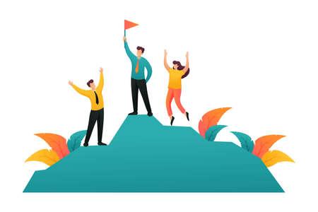 Team entrepreneurs celebrates victory on top of success. Flat 2D character. Concept for web design. Illusztráció