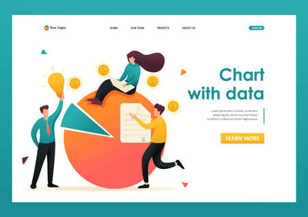 Chart with data financial statements, credit debt. Flat 2D character. Landing page concepts and web design.