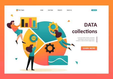 Large chart and a set of analytical data, data collection and employees. Flat 2D character. Landing page concepts and web design. Illusztráció