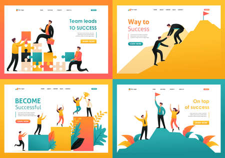 Flat 2D illustration on the topic of achieving success as a team, the path to success, teamwork. For Landing page concepts and web design.