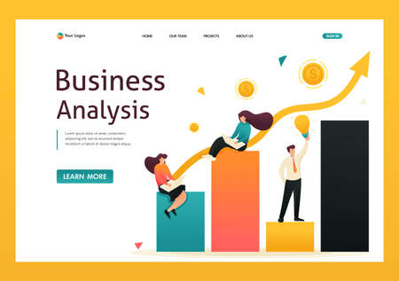 Schedule of revenue growth and achievement of goals. Girls sit on charts and work. Landing page concepts and web design.