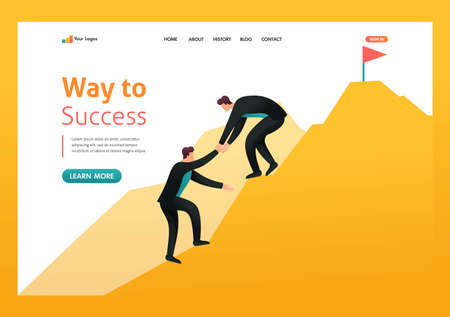 Help to achieve goals, leadership, business coach. Way to success. Flat 2D character. Landing page concepts and web design. 向量圖像