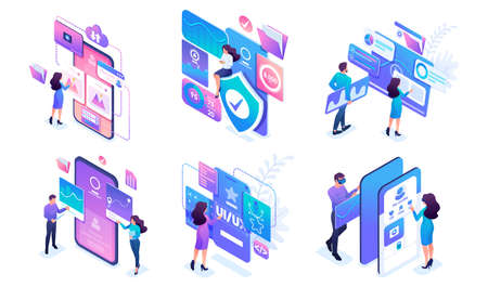 Isometric set of bright concepts of work of young people on smartphones and tablets. Use mobile applications. Banque d'images - 151016087