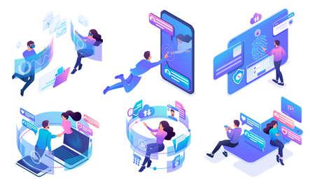 Isometric set of bright concepts of virtual communication in social networks. Online communication via mobile applications. Illusztráció