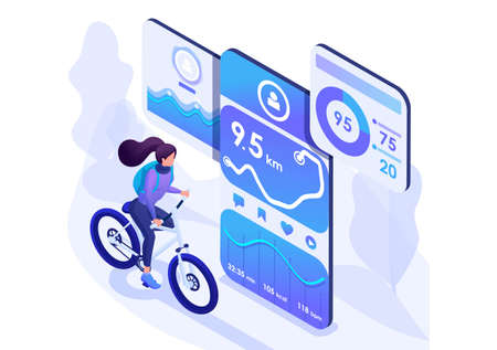Isometric design concept on the subject like riding a bike, Cycling with a mobile app. For advertising concepts and web design development.