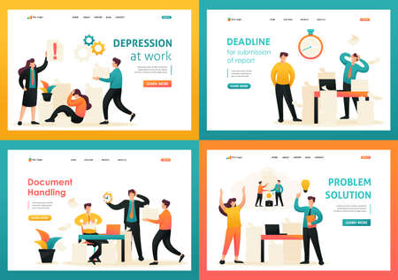 Flat 2D concepts Problem solution, Document Handling, Depression at work. Contract cancellation. For Landing page concepts and web design. 스톡 콘텐츠 - 151019107