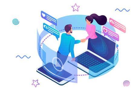 Isometric design concept on the theme stay always in touch with your loved ones. For advertising concepts and web design development. Illusztráció