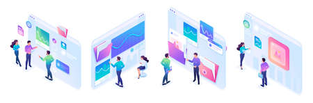 Isometric sets of concepts of young people's work on tablet screens. Bright design for advertising concepts and web design development.