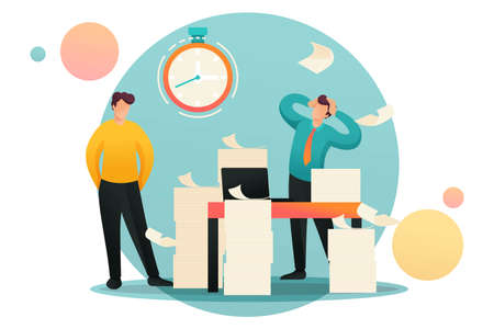 Stressful situation, Deadline for submission of report, company's employees in shock. Flat 2D character. Concept for web design. Banque d'images - 151019115