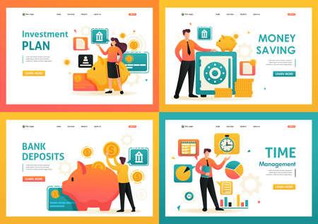 Flat 2D saving money, bank deposits, investment plan, time management. For Landing page concepts and web design. Illusztráció