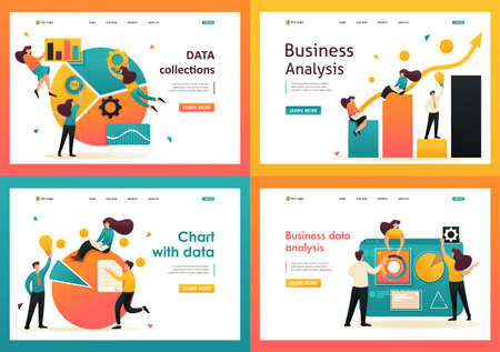 Flat 2D Data Analysis, Chart With Data, Data collections. For Landing Page Concepts and Web Design.