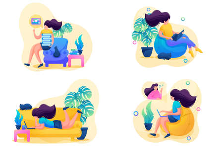 Set 2D Flat on the topic of female self-isolation, work at home, online training. For Concept for web design.