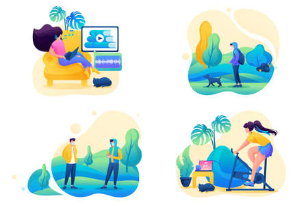 Set 2D Flat on the topic of female self-isolation, work at home, online training, sports. Concept for web design.