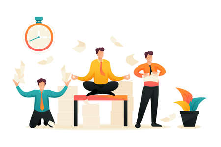 Employees in a panic, stress at work, solve problems, meditate. Flat 2D character. Concept for web design. Banque d'images - 151327287
