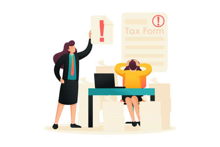 Stressful situation, Completing the tax form, deadline for filing tax returns. Flat 2D character. Concept for web design.