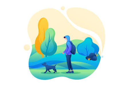 Young man walks with a dog with a mask on his face during an epidemic. Flat 2D character. Concept for web design. 스톡 콘텐츠 - 151327286