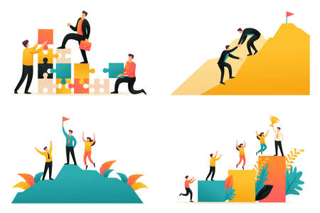 Flat 2D illustration on the topic of achieving success as a team, the path to success, teamwork. Concept for web design.