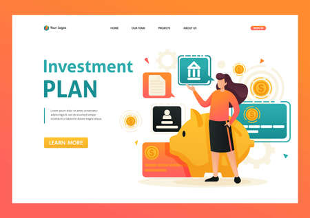 Girl demonstrates her investment plan, investment and profit growth, Bank deposit. Flat 2D character. Landing page concepts and web design.