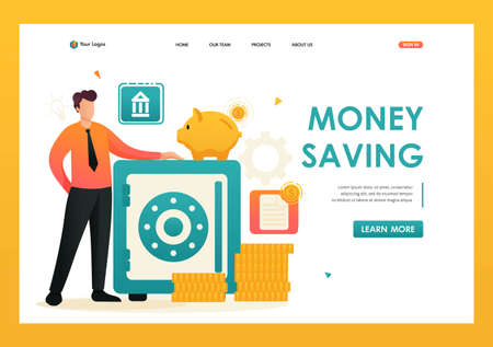 Person saves money in a safe, keeps money in the Bank in a Bank Deposit. Flat 2D character. Landing page concepts and web design. Banque d'images - 151402611