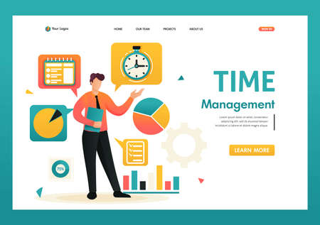 Young businessman is engaged in time management. Planning your time. Flat 2D character. Landing page concepts and web design. 벡터 (일러스트)
