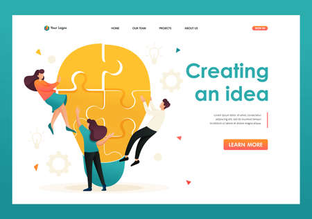 Young team Creates an idea, teamwork. Brainstorm business ideas. Flat 2D character. Landing page concepts and web design. Banque d'images - 151370650