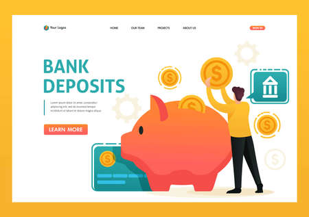 Man puts money in a piggy Bank, invests money, a Bank Deposit. Flat 2D character. Landing page concepts and web design. Banque d'images - 151402619