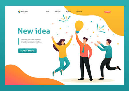 Young team Creates a new idea, teamwork. Brainstorm business ideas. Flat 2D character. Landing page concepts and web design. Banque d'images - 151370720