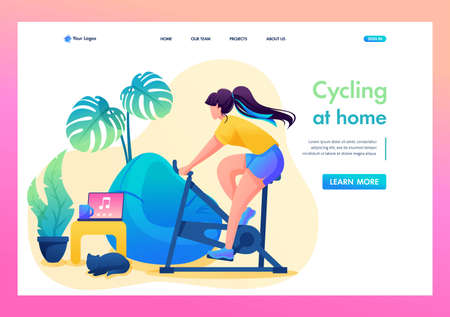 Girl is engaged in sports at home, Cycling. Flat 2D character. Landing page concepts and web design. 일러스트