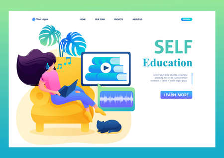 Self-study, a girl studies online, listens to a lecture on a tablet. Flat 2D character. Landing page concepts and web design.