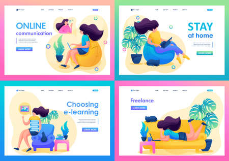 Set 2D Flat on the topic of female self-isolation, work at home, online training. For Landing page concepts and web design.