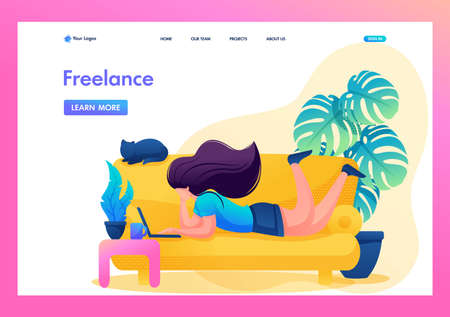 Remote work, the girl works as a freelancer. Work at home. Flat 2D character. Landing page concepts and web design.