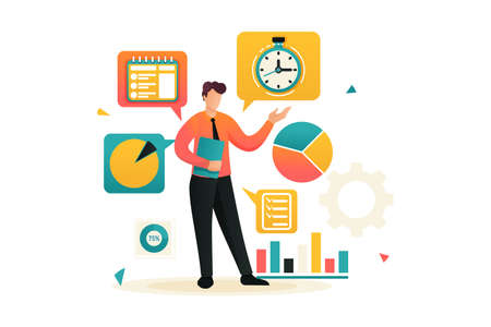 Young businessman is engaged in time management. Planning your time. Flat 2D character. Concept for web design.