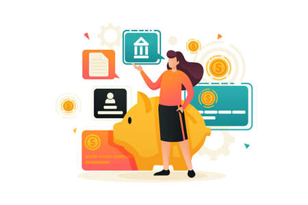 Young girl demonstrates her investment plan, investment and profit growth, Bank deposit. Flat 2D character. Concept for web design. 일러스트