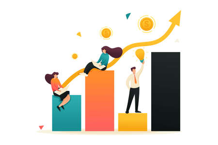 Schedule of revenue growth and achievement of goals. Girls sit on charts and work. Concept for web design.