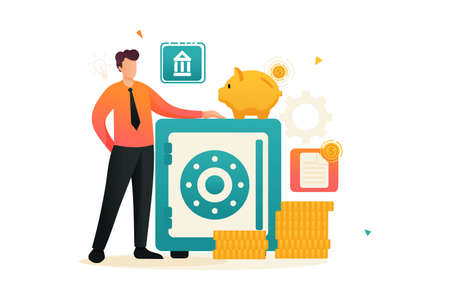 Person saves money in a safe, keeps money in the Bank in a Bank Deposit. Flat 2D character. Concept for web design.