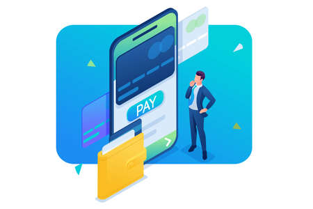 Young man makes an online payment through a mobile application. 3D isometric. Concept for web design.
